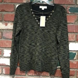 Michael Kors green V Neck lace up sweater NWT XS